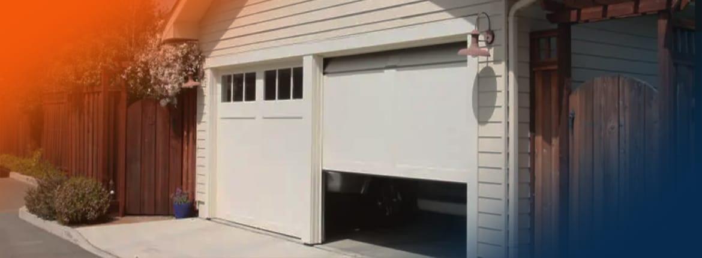 Garage door open halfway